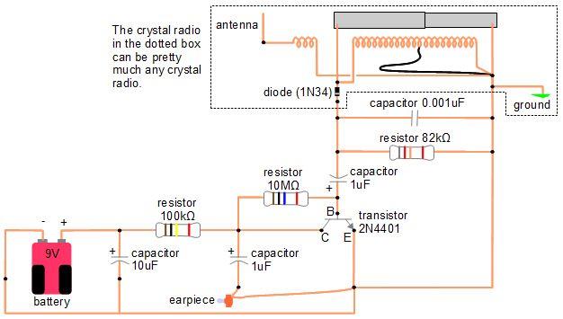Amplifier For Crystal Radio Earphone