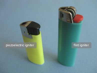 Piezoelectric igniter crystal from a lighter