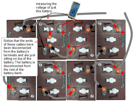measuring battery bank voltage how to measure the voltage of just one battery in a battery bank