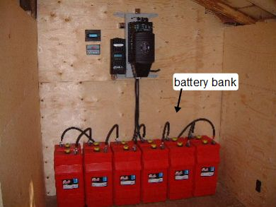 battery bank with surrette/rolls batteries in an off-grid system