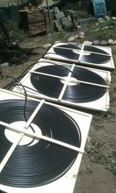 Beautiful One View Of The DIY Solar Pool Heater Panels In Place.