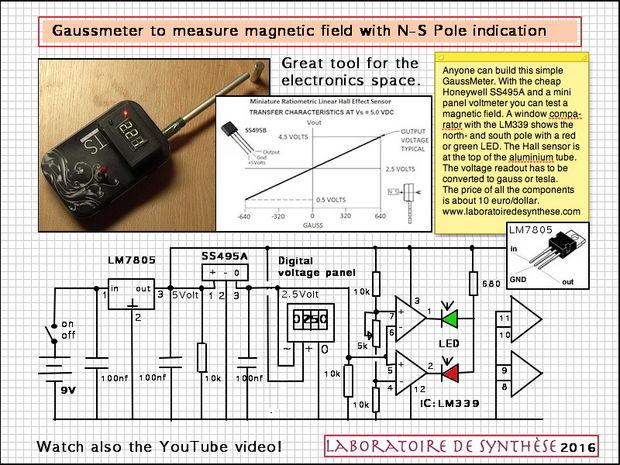 4fb13b7c337 Gauss meter schematic and hall effect sensor details.