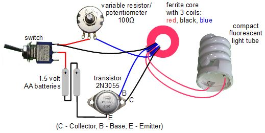 Joule thief circuit powering a compact fluorescent lightbulb 4 pin to 6 pin wiring circuit diagram for jeanna\u0027s light variation of joule thief circuit