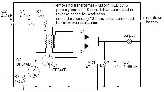 Joule thief circuit powering a clock