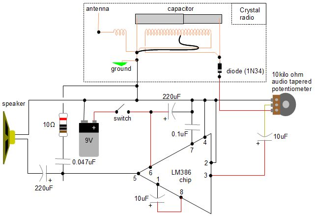 homemade diy amplifier for loud speakercrystal radio amplifier circuit using lm386 amplifier chip