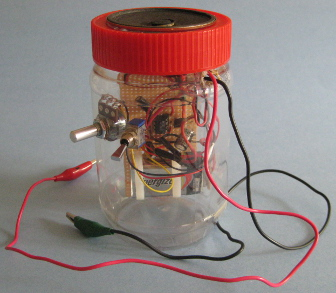 The homemade/DIY crystal radio amplifier in the jar before painting.