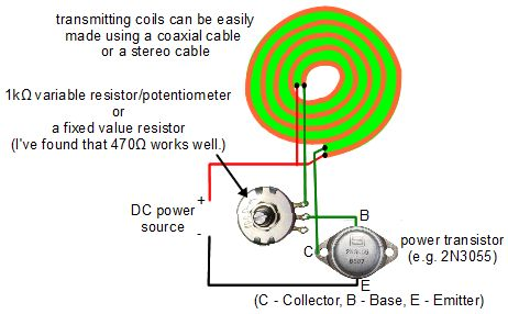 wireless transmission of electricity diy wireless electricity transmitter circuit diagram which is really a joule thief circuit flat coreless