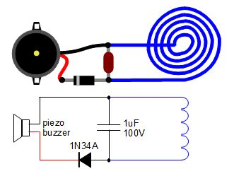 wireless transmission of electricity diy circuit diagram and schematic diagram for piezo buzzer receiver for wireless transmission of electricity